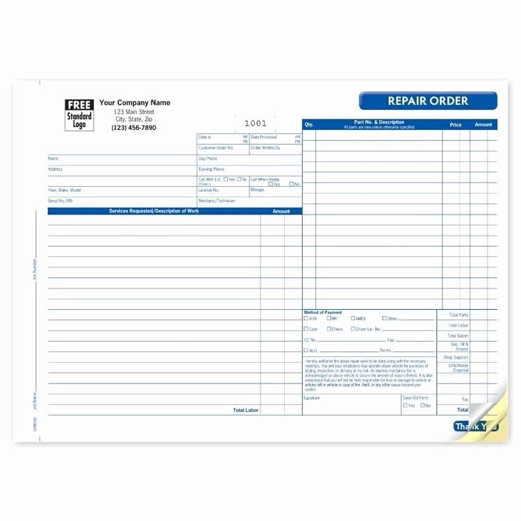 Auto Work order Template New Automotive Repair Invoice form
