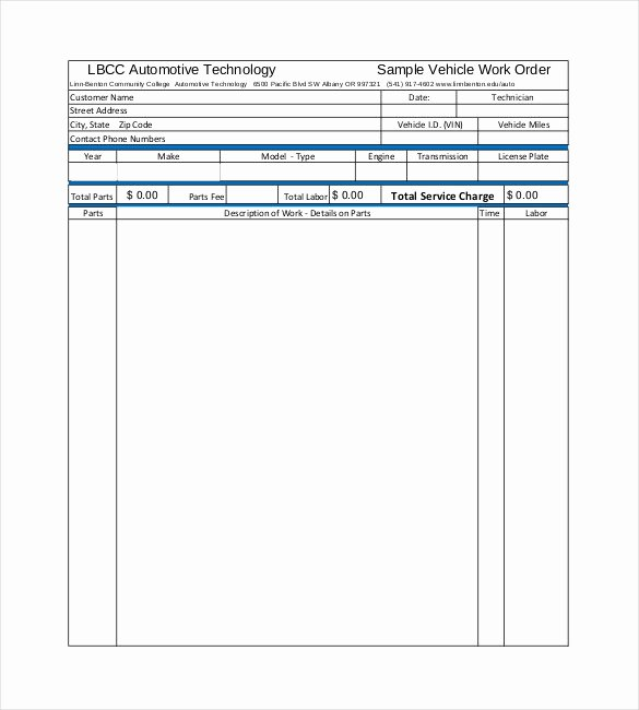 Auto Work order Template Unique 20 order Template Word Excel Pdf