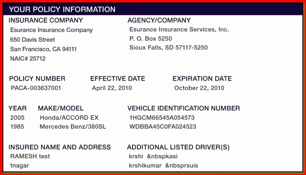 Automobile Insurance Card Template Lovely Proof Auto Insurance Template Free