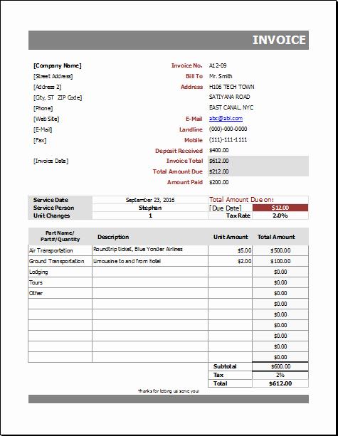 Automotive Repair Invoice Template Elegant Auto Repair Billing Invoice for Excel