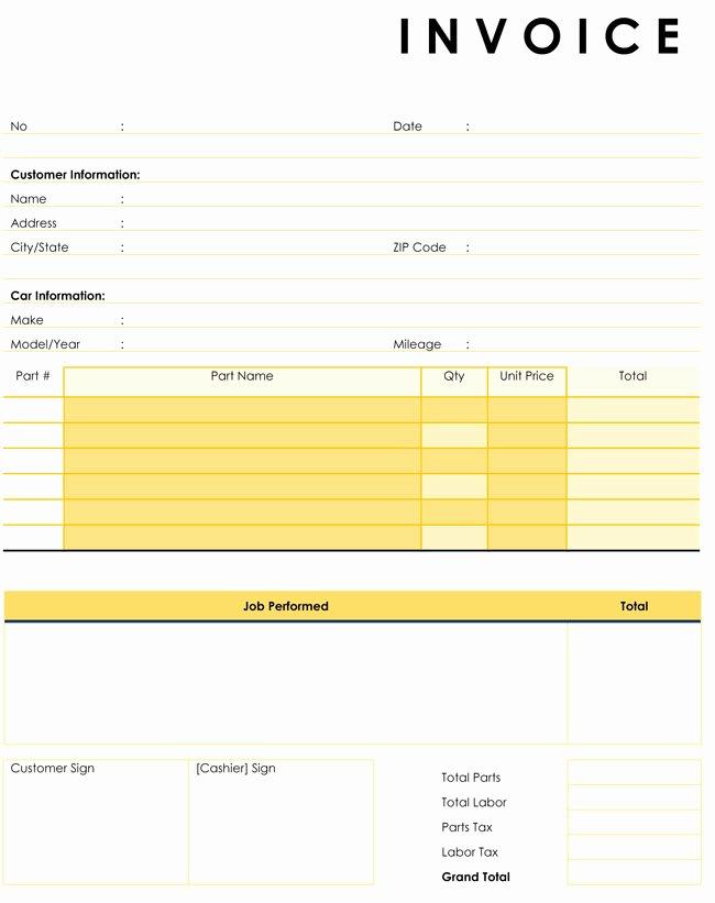 Automotive Repair Invoice Template Elegant Auto Repair Invoice Templates 10 Printable and Fillable