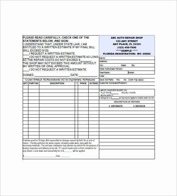 Automotive Repair Invoice Template Fresh 20 Small Business Invoice Templates – Pdf Word Excel