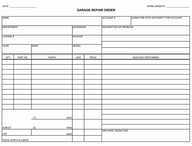 Automotive Repair Receipt Template Awesome Auto Repair Invoice Templates 10 Printable and Fillable