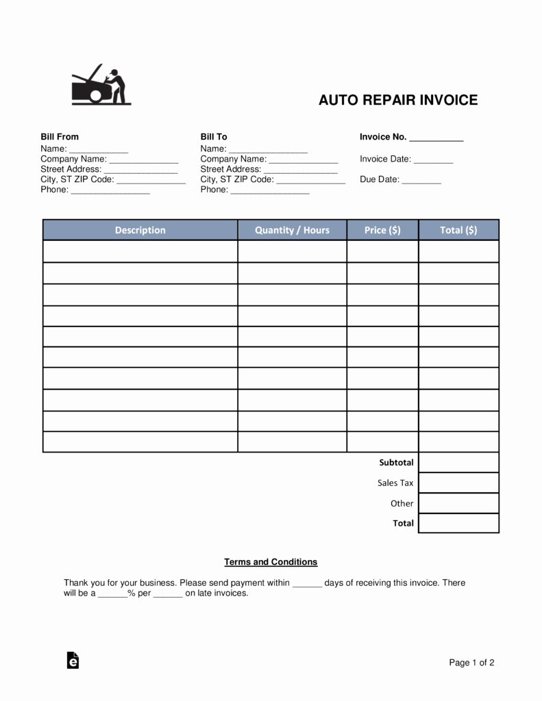 Automotive Repair Receipt Template Beautiful Free Auto Body Mechanic Invoice Template Word