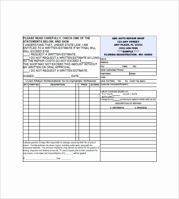 Automotive Repair Receipt Template Elegant 6 Auto Repair Invoice Templates Doc Pdf