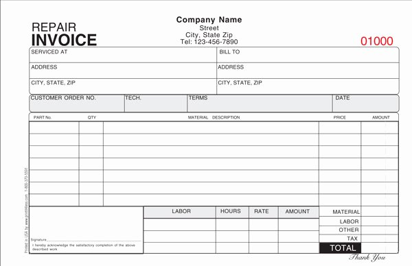 Automotive Repair Receipt Template Fresh Repair Bill Template Wevo