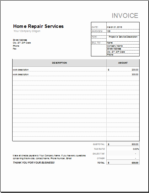 "Automotive Repair Receipt Template Inspirational Roofing Receipt & S&le Service Invoice""""sc"" 1""st"" ""hloom"