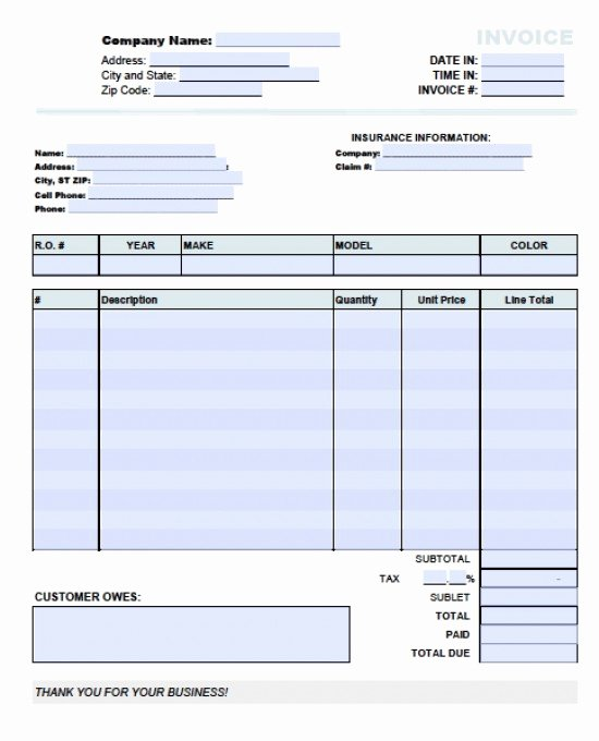 Automotive Repair Receipt Template Luxury Auto Invoice Template