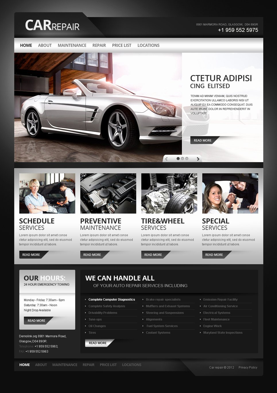 Automotive Repair Website Template Awesome Car Repair Moto Cms HTML Template