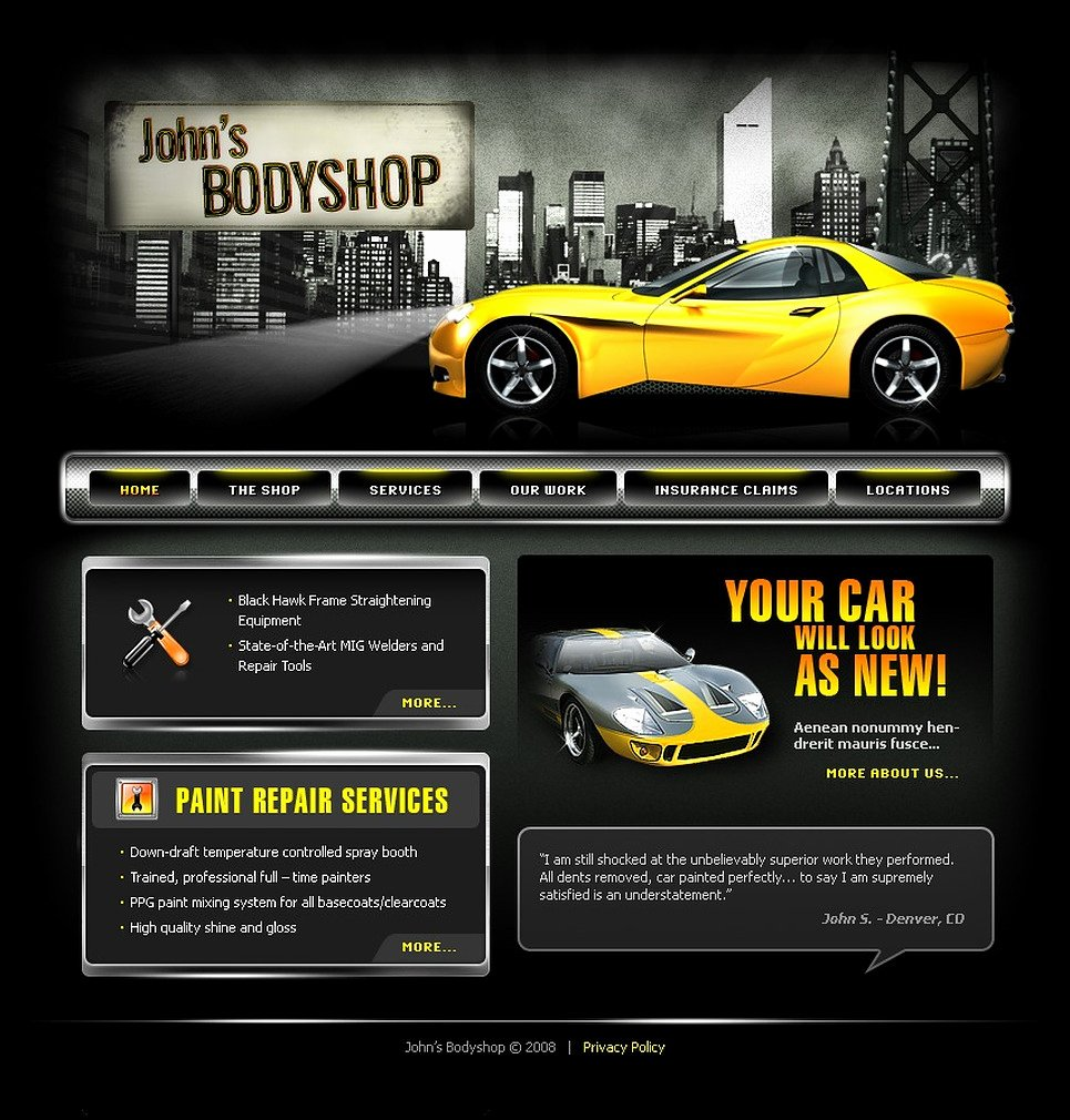 Automotive Repair Website Template Awesome Car Repair Website Template
