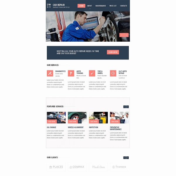 Automotive Repair Website Template Beautiful Car Repair Responsive Website Template Discounted