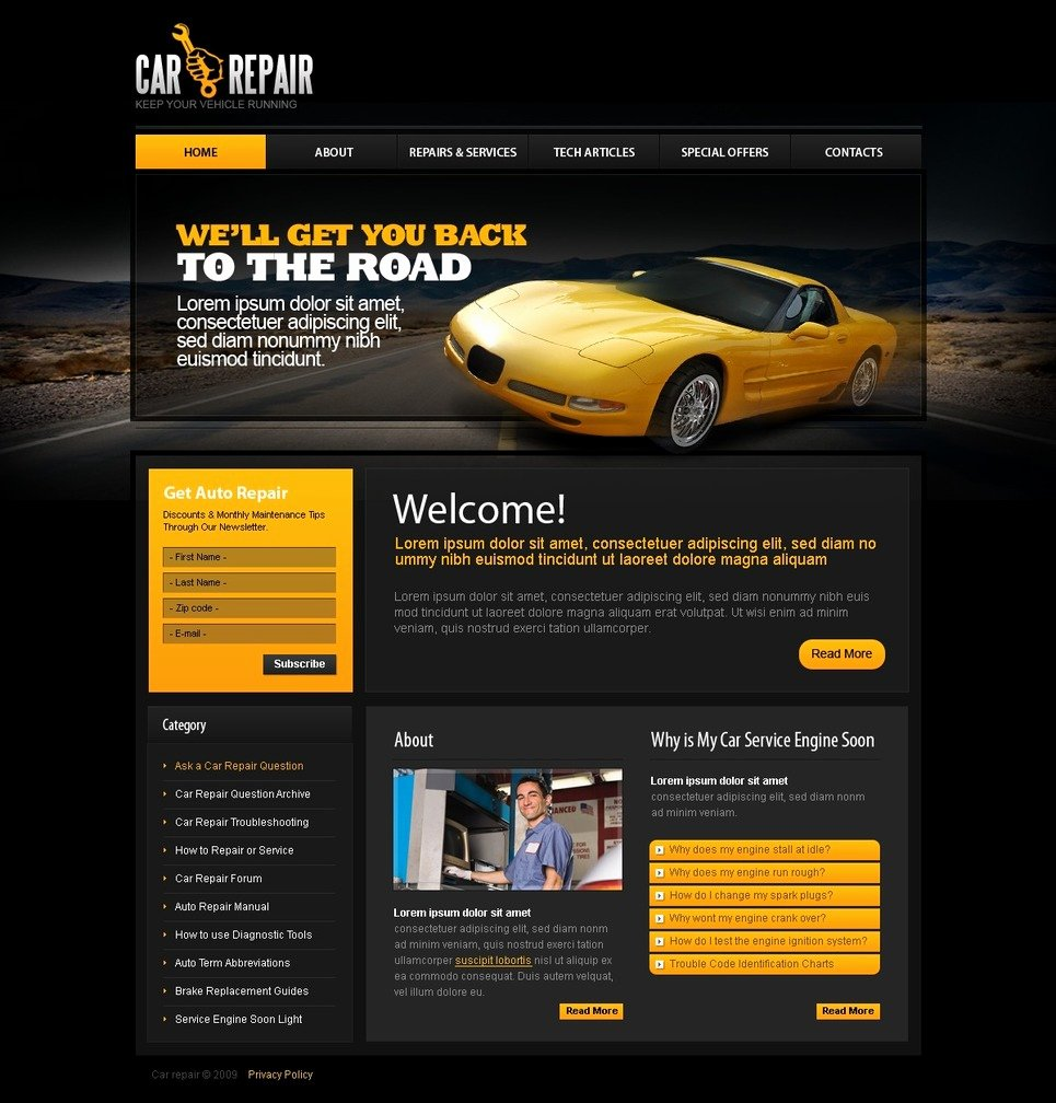 Automotive Repair Website Template Best Of Car Repair Website Template