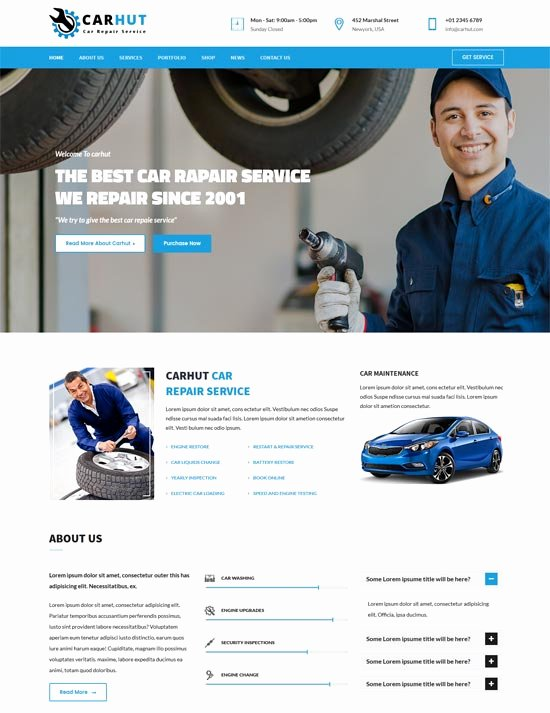 Automotive Repair Website Template Fresh 70 Best Car Auto Website Templates Free & Premium