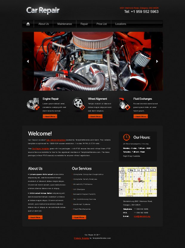 Automotive Repair Website Template Fresh Car Repairing Jquery Web Template Freepsdfile