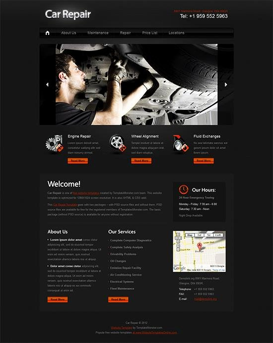 Automotive Repair Website Template Inspirational Car Repair