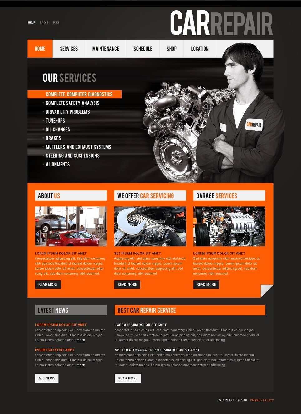 Automotive Repair Website Template Inspirational Car Repair Website Template