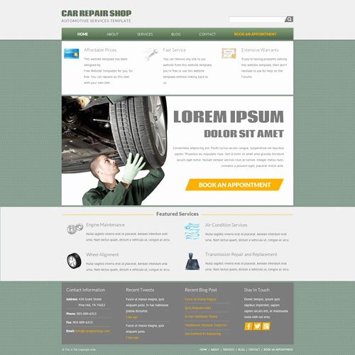 Automotive Repair Website Template Luxury Car Repair Shop Website Template