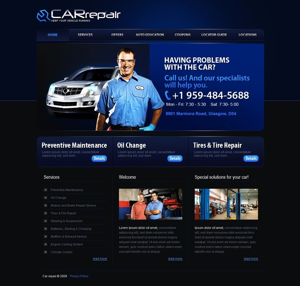 Automotive Repair Website Template Unique Car Repair Website Template