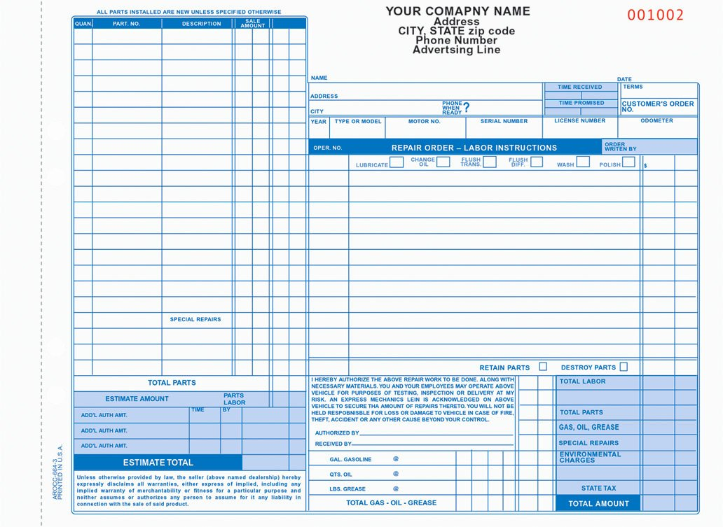 Automotive Work order Template Awesome Auto Repair order forms Arocc 664 and Aro 656