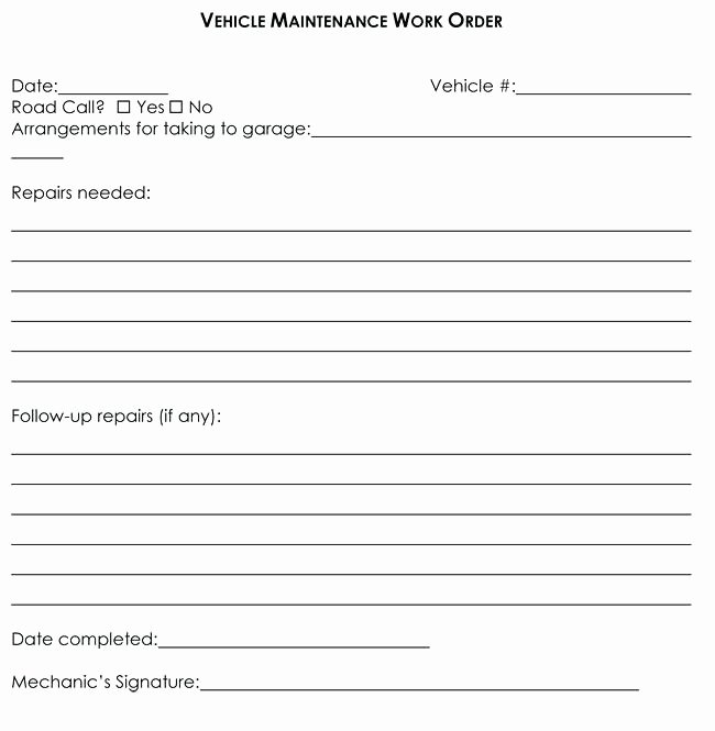 Automotive Work order Template Awesome Mechanic Work order Template