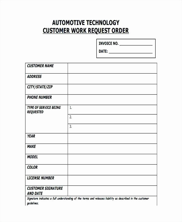 Automotive Work order Template Best Of Blank Auto Repair Invoice Automotive Work order Template