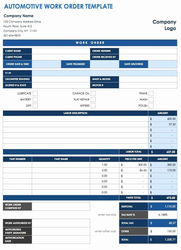 Automotive Work order Template Fresh 40 Work order Template Free Download [word Excel Pdf]