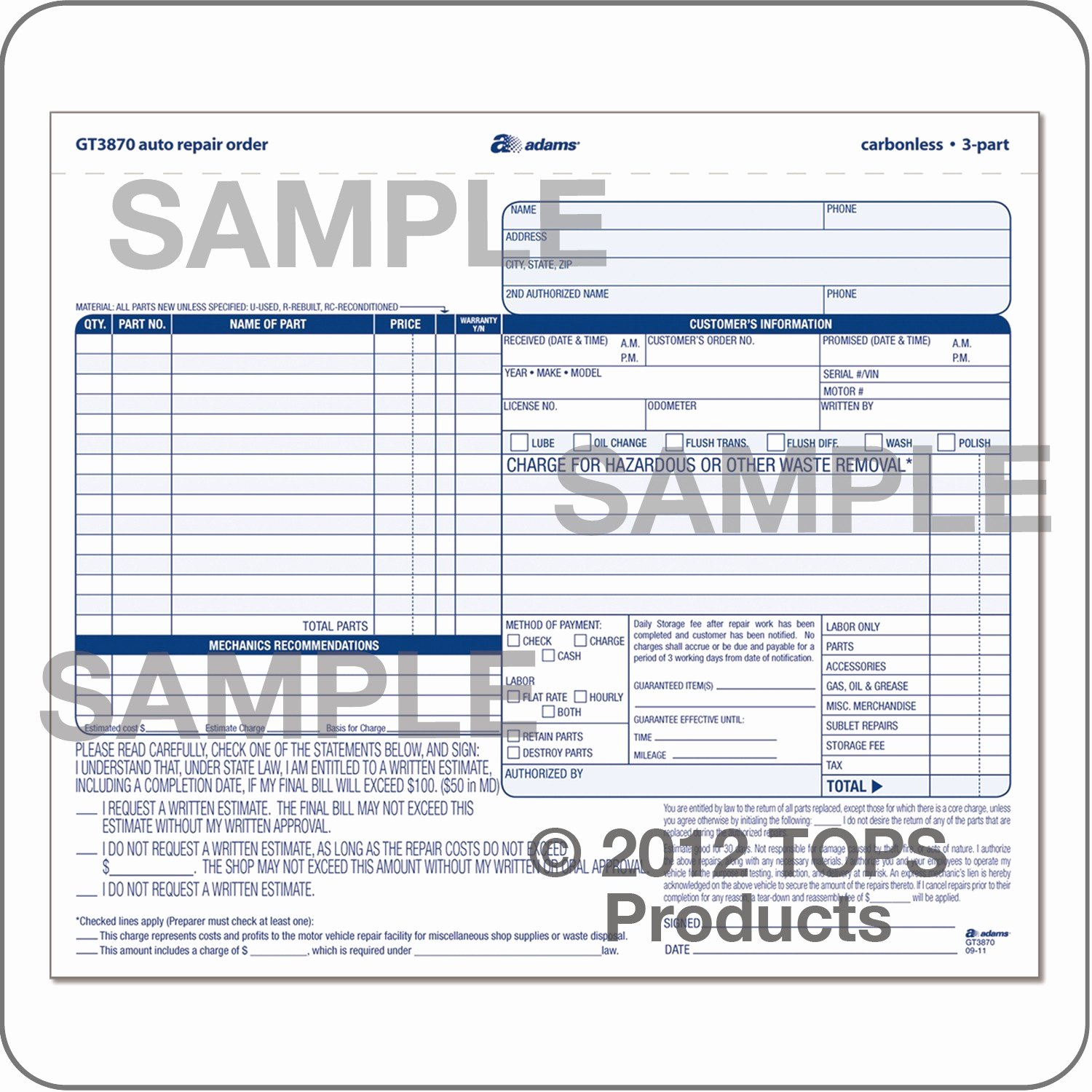 Automotive Work order Template Fresh Auto Repair order 3 Part Carbonless