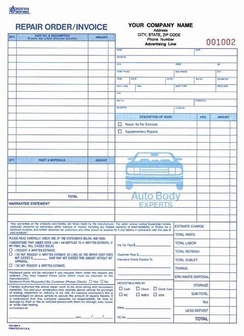 Automotive Work order Template Fresh Mechanic Shop Invoice