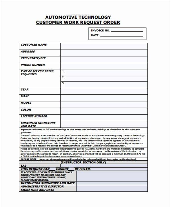 Automotive Work order Template Fresh Work order Templates 9 Free Pdf format Download