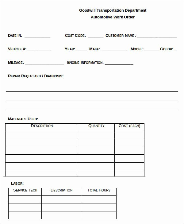 Automotive Work order Template Inspirational 29 order Templates In Word