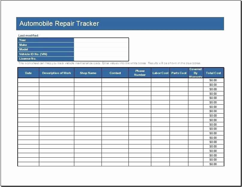 Automotive Work order Template Inspirational Auto Repair order Template Excel Mechanic Work order