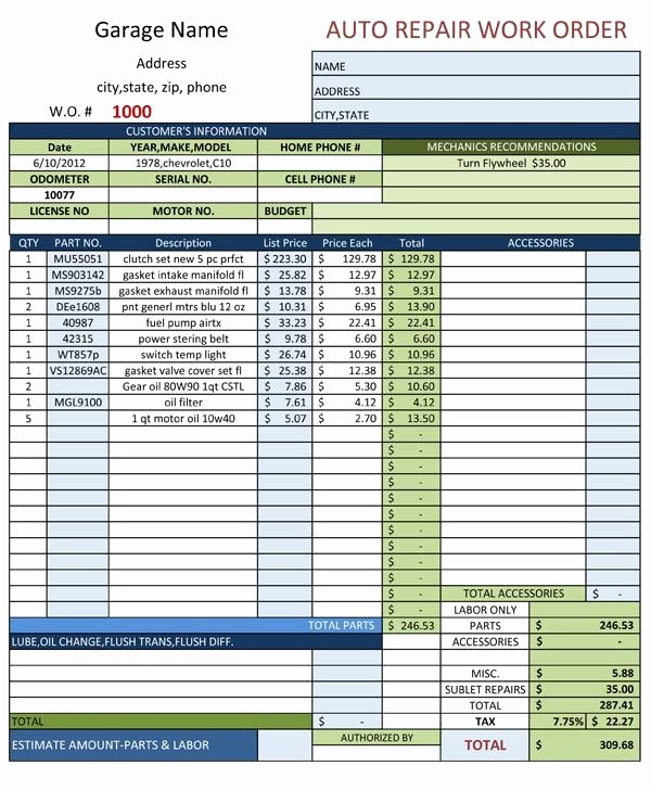 Automotive Work order Template New Auto Mechanic Work order Template Templates Resume
