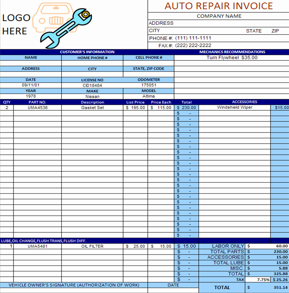 Automotive Work orders Template Luxury Auto Repair Invoice Template Excel