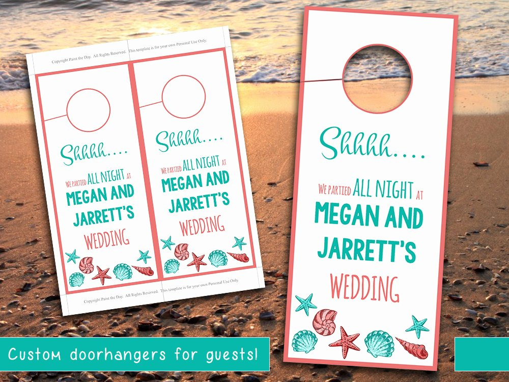 Avery Door Hanger Template Inspirational Beach Wedding Door Hanger Template Seashell Coral Teal