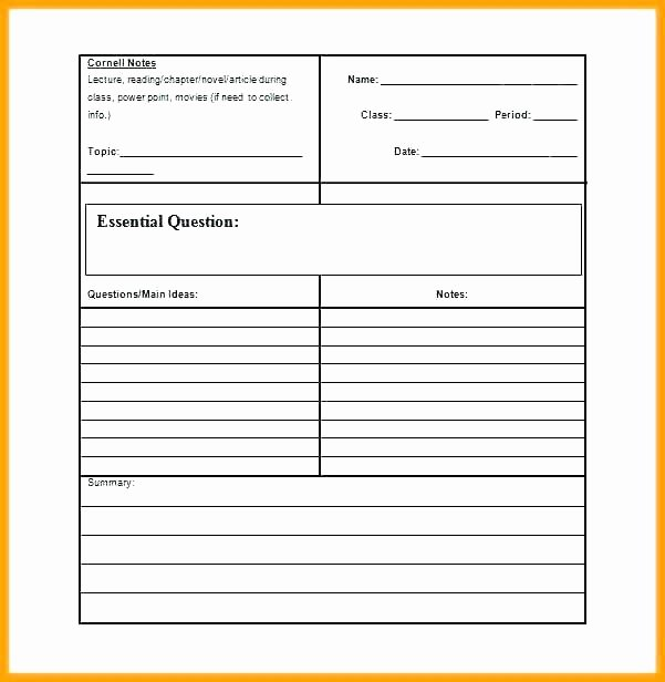 Avid Cornell Note Template Unique Avid Notes Printable Note Taking Template form Blank