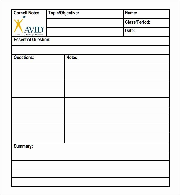 Avid Cornell Notes Template Awesome Avid Cornell Notes Template Pdf Invitation Templates