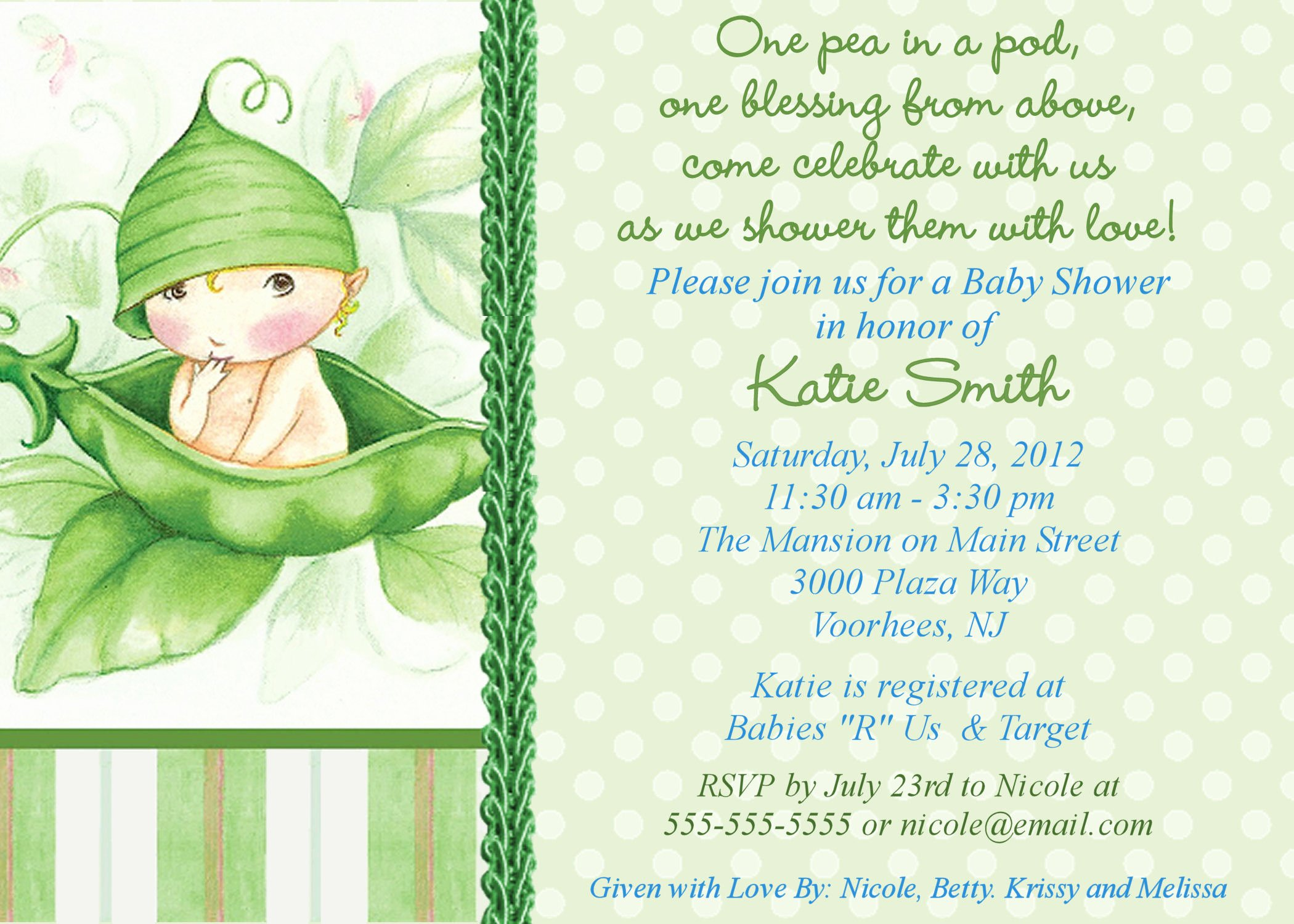 twin baby shower themes ideas pea in the pod