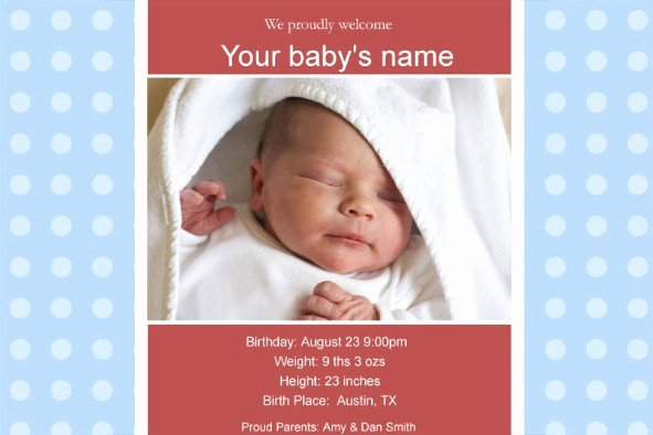 Baby Announcement Template Free Beautiful Free Photo Templates Baby Birth Announcement 2