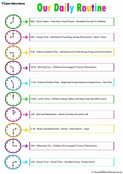Baby Daily Schedule Template Beautiful Daily Room Routine Template Aussie Childcare Network