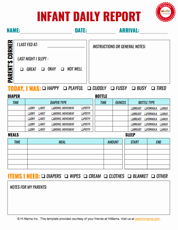 Baby Daily Schedule Template Best Of Infant Daily Report 1 Per Page