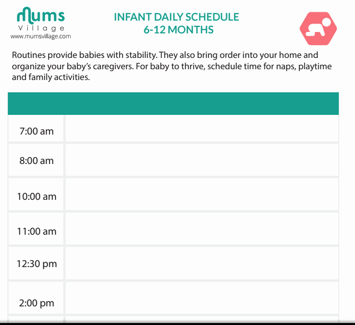 Baby Daily Schedule Template Unique Mum & Baby Mumsvillage Mumsvillage