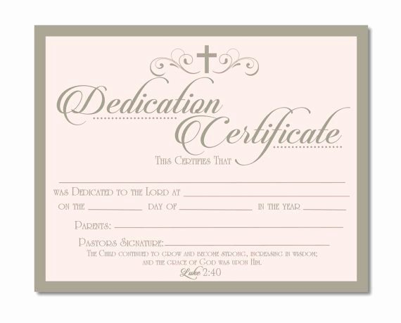 Baby Dedication Certificate Template Awesome Printable Baby Dedication Certificate Digital by