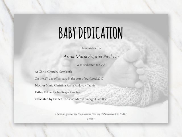 Baby Dedication Certificate Template Beautiful Baby Dedication Certificate Template for Word [free Printable]