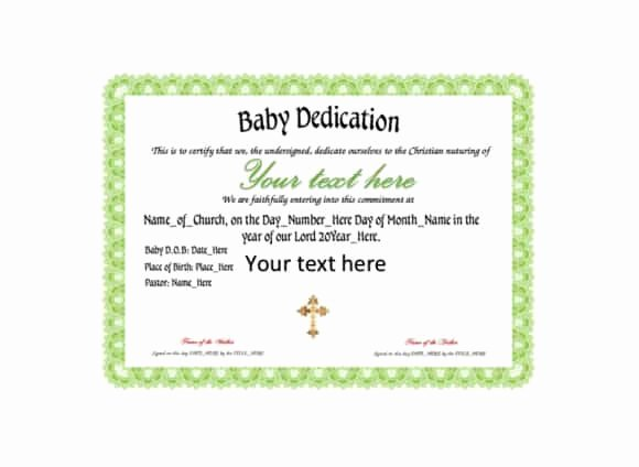 Baby Dedication Certificate Template Elegant 50 Free Baby Dedication Certificate Templates Printable