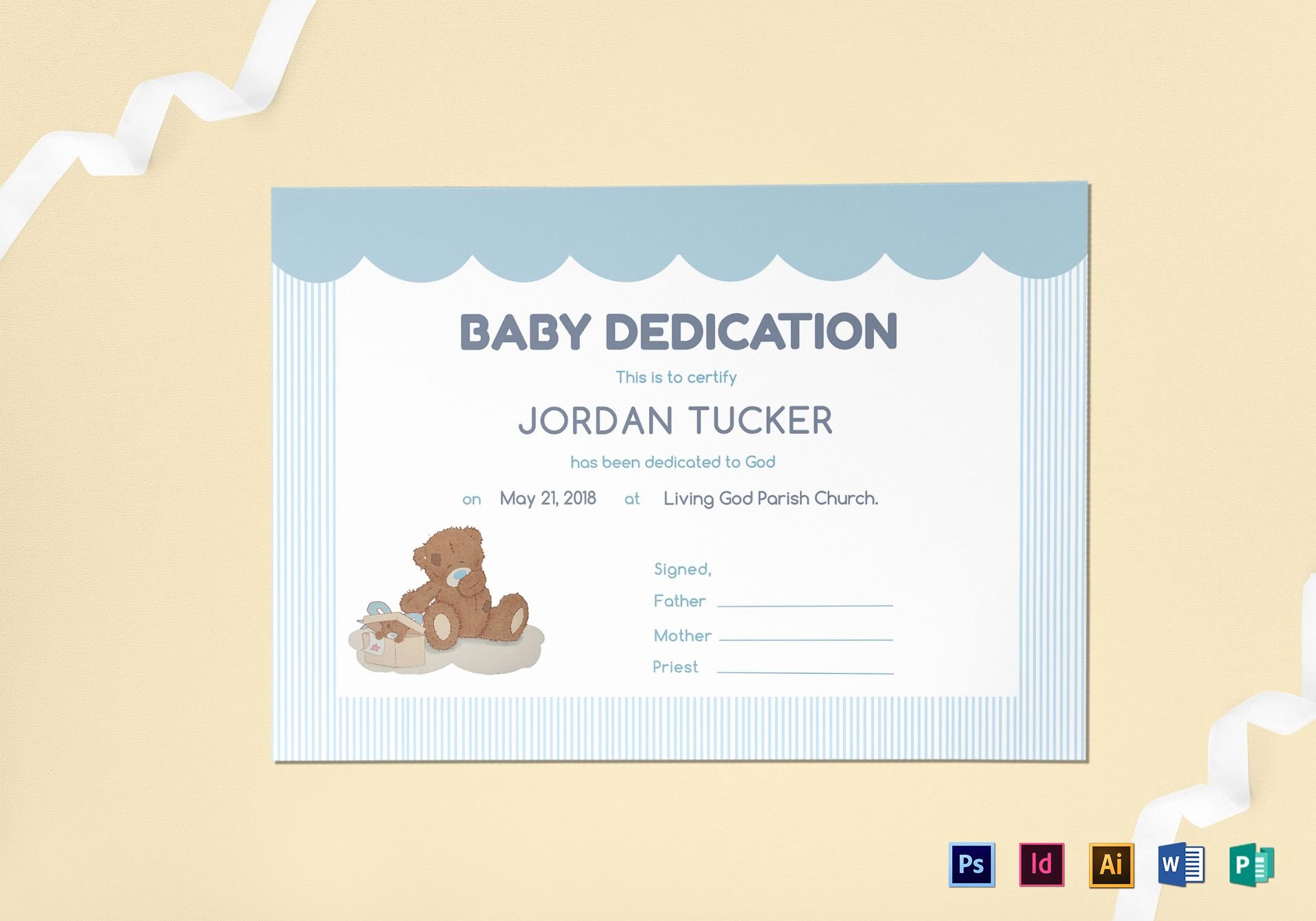 Baby Dedication Certificate Template Elegant Baby Dedication Certificate Design Template In Psd Word