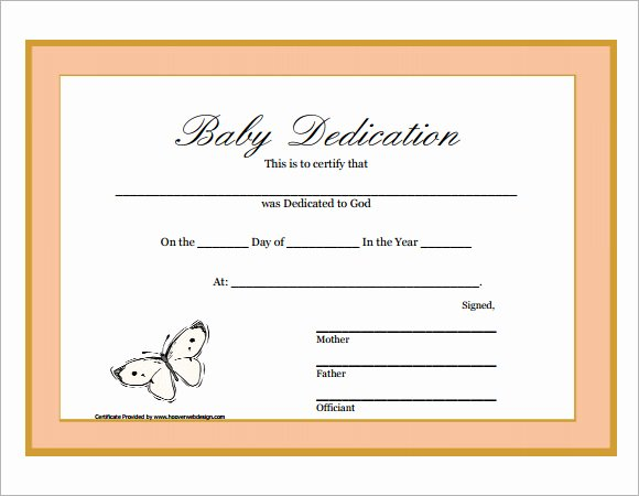 Baby Dedication Certificate Template Fresh 9 Sample Printable Baby Dedication Certificate Templates