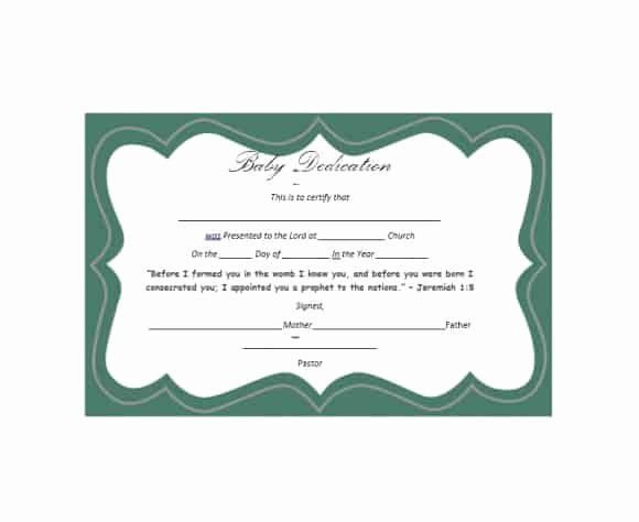 Baby Dedication Certificate Template Inspirational 50 Free Baby Dedication Certificate Templates Printable
