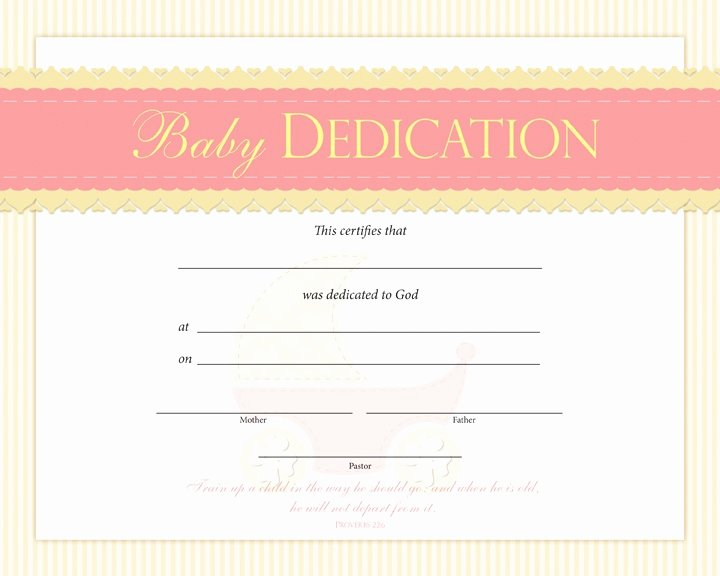 Baby Dedication Certificate Template Inspirational Baby Dedication Certificate