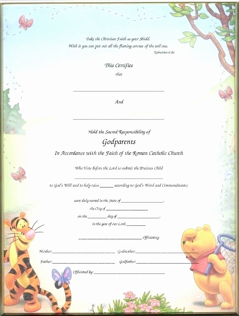 Baby Dedication Certificate Template Inspirational Printable Certificates Christening for Godparents Blank