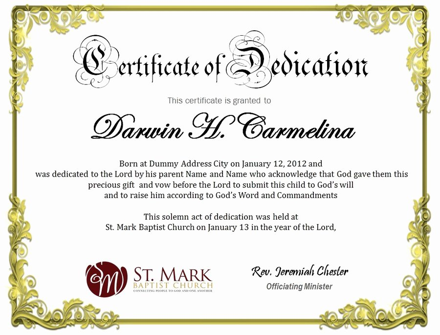 Baby Dedication Certificate Template Lovely Baby Dedication Certificate
